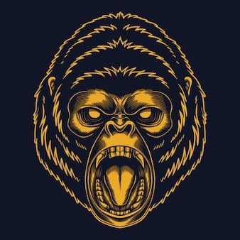 Illustration d'or de gorille en colère
