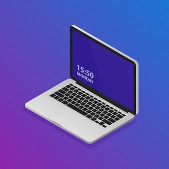 Illustration d'ordinateur portable vecteur isométrique. ordinateur de bureau réaliste moderne.