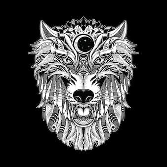 Illustration ornée de loup