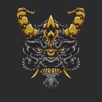 Illustration ornée de tête de diable