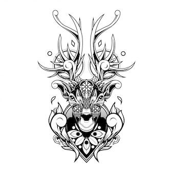 Illustration d'ornement de cerf doodle, conception de tatouage et de tshirt