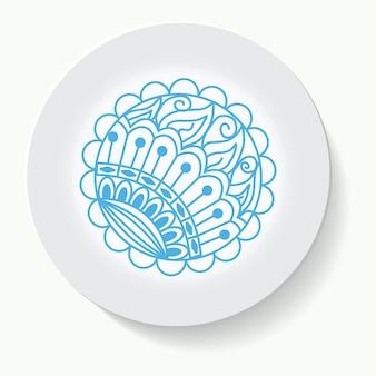 Illustration ornement dessiné à la main sur une soucoupe et fond