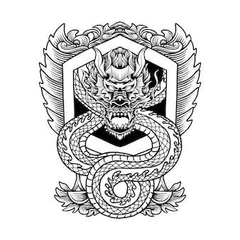 Illustration d'ornement de dragon