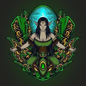 Illustration d'ornement de gravure elfe et t-shirt