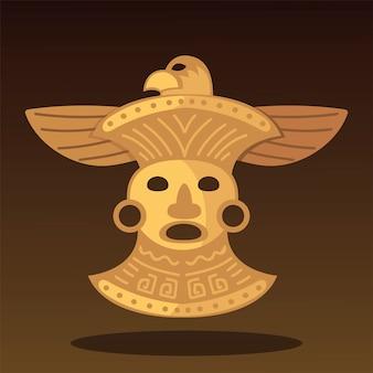 Illustration d'ornement d'oiseau trésor tribal ethnique aztèque