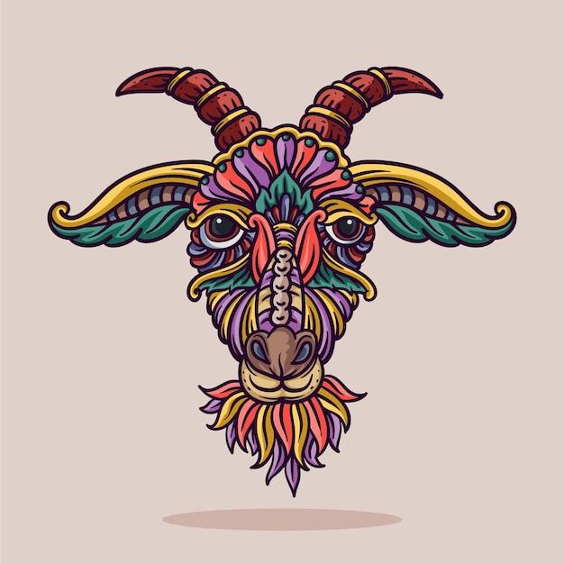 Illustration d'ornement de tête de chèvre avec des lignes et des couleurs vector illustration