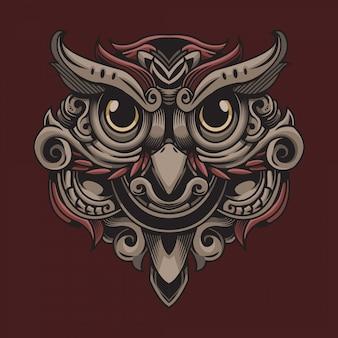 Illustration ornementale oiseau hibou