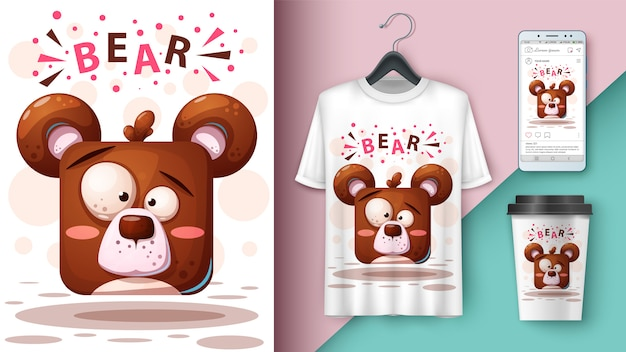 Illustration d'un ours en dessin animé pour t-shirt, tasse et smartphone