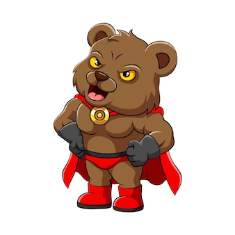 L'illustration de l'ours menteur avec le manteau rouge et les chaussures debout avec l'expression fringante
