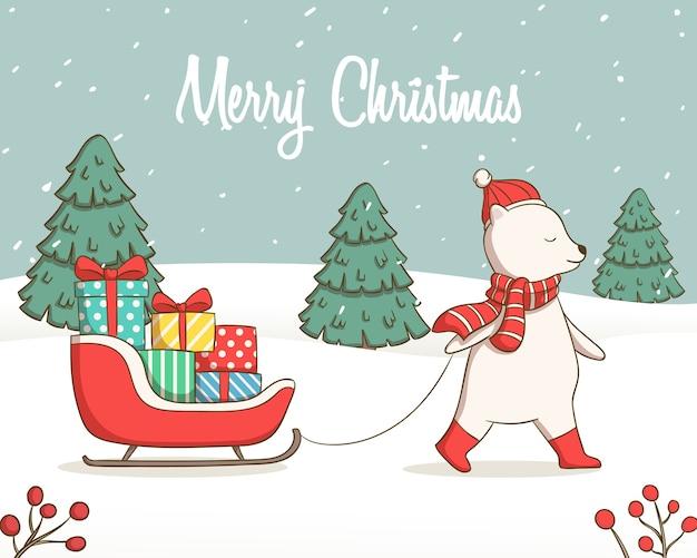 Illustration d'ours mignon avec des cadeaux en traîneau de santa pour le jour de noël et le nouvel an
