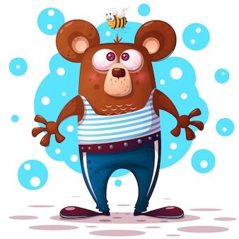 Illustration d'ours mignon et drôle. caractère animal