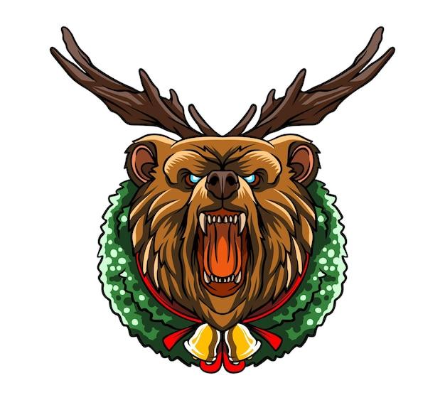 Illustration de l'ours de noël en colère avec corne de cerf