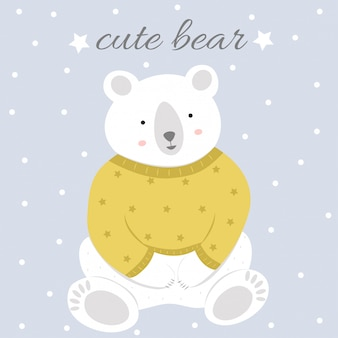 Illustration avec un ours polaire mignon et texte