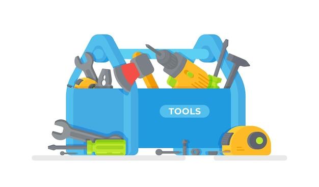 Illustration des outils de construction. boîte à outils pour les réparations.