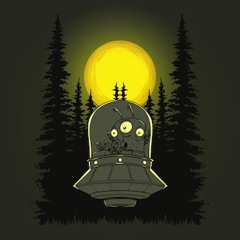 Illustration d'ovni de conduite d'aliens