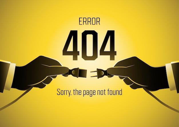 Une illustration de la page 404 erreur avec les mains d'un homme d'affaires tenant la prise électrique