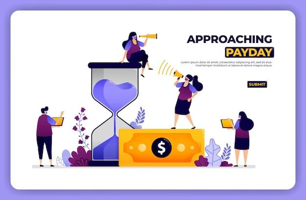 Illustration de la page d'accueil de l'approche du jour de paie. gérer le temps et les paiements financiers.