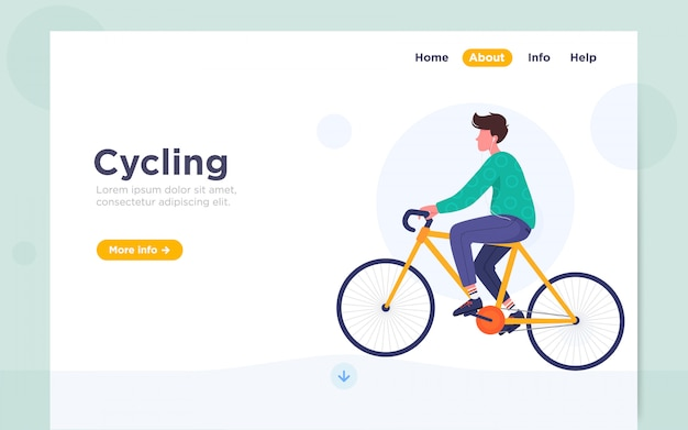 Illustration de page d'atterrissage à plat moderne du cyclisme