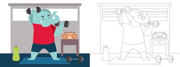 Illustration de page de coloriage d'enfants avec le dumble de levage dur d'exercice d'éléphant