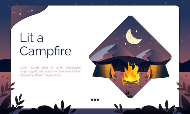 Illustration de la page de destination, allumé un feu de camp