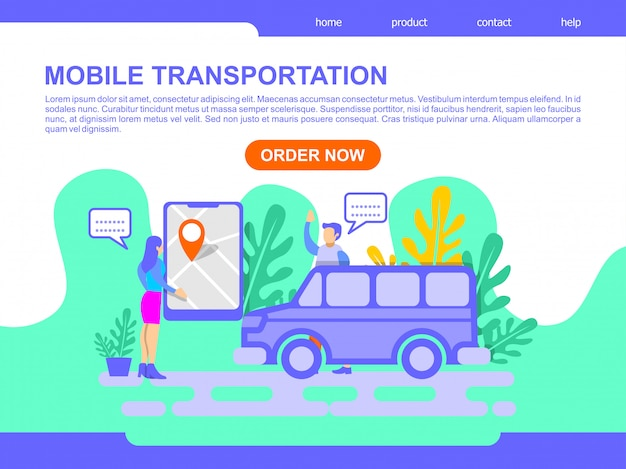 Illustration de la page de destination du transport mobile en ligne