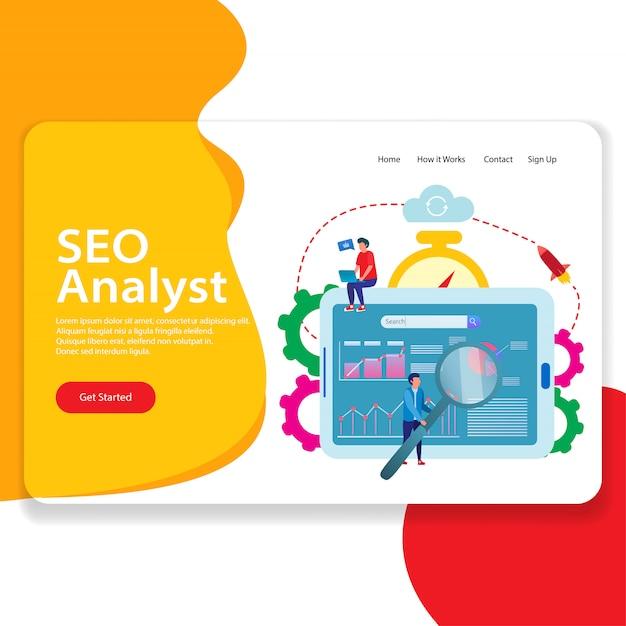 Illustration de la page de destination du web analyste seo