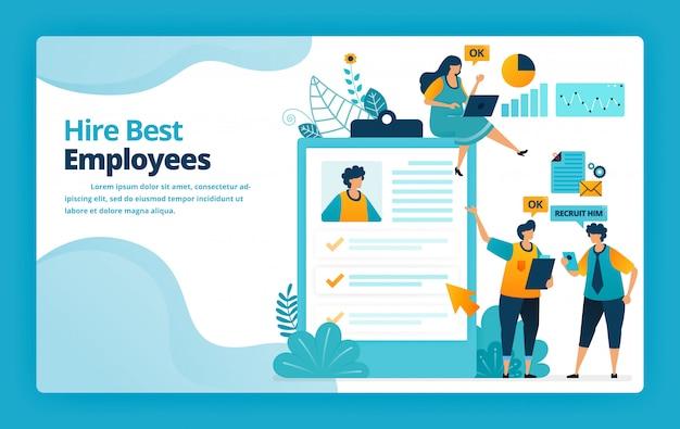 Illustration de la page de destination de l'embauche des meilleurs employés avec des examens et des questionnaires pour mesurer la capacité et les capacités