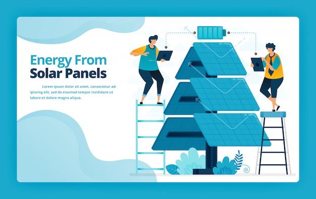 Illustration de la page de destination de l'énergie alternative avec la technologie de distribution électrique des panneaux solaires pour le chargement de la batterie