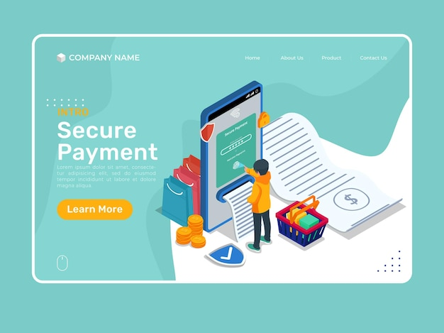 Illustration de paiement sécurisé isométrique avec téléphone portable. modèle de page de destination de boutique en ligne.