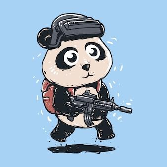 Illustration de panda de dessin animé de bataille