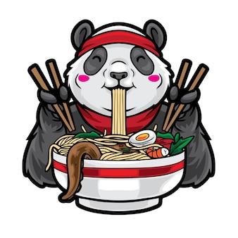 Illustration de panda mangeant des nouilles