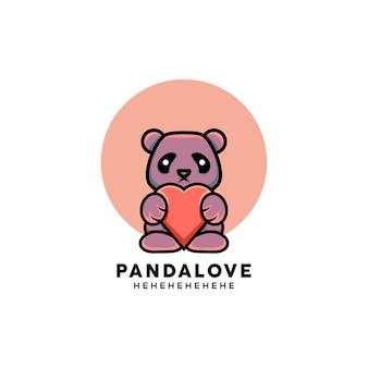 Illustration de panda mignon de style dessin animé