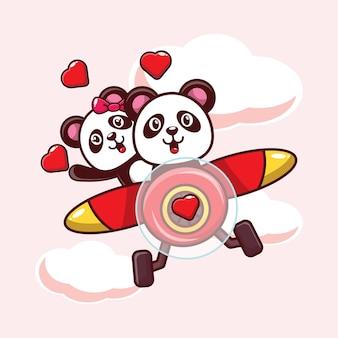 Illustration panda mignon tombant amoureux volant avec un avion