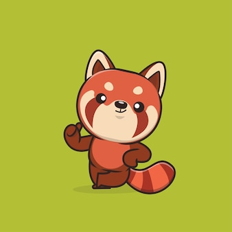 Illustration de panda rouge animal mignon