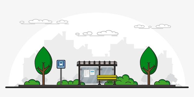 Illustration de panneau d & # 39; arrêt de bus arrêt de bus