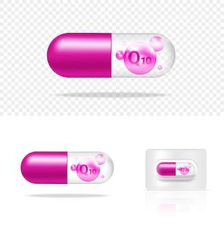 Illustration de panneau de capsule de médecine de vitamine q10 de pilule transparente réaliste. tablettes médicale et concept de soins de santé.