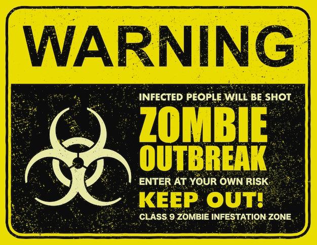 Illustration de panneau signe épidémie zombie
