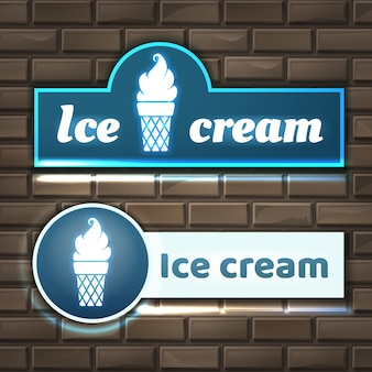 Illustration de panneaux de signalisation au néon de crème glacée sur le mur de briques