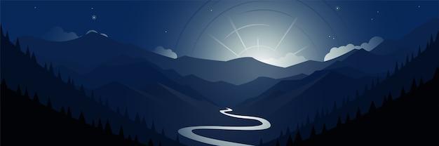 Illustration panoramique des montagnes de la vallée de la nuit et de la scène de la lune