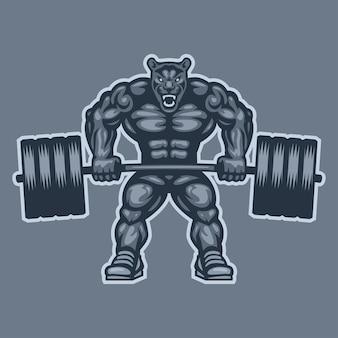 Illustration, panthère bodybuilder soulevant des haltères et des grognements, format eps 10