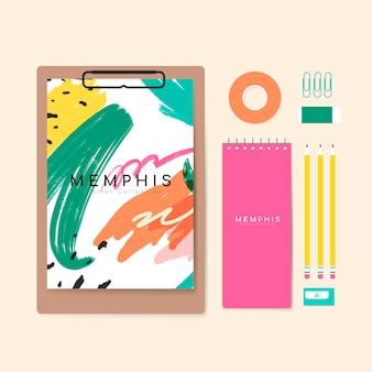 Illustration de papeterie d'été de memphis