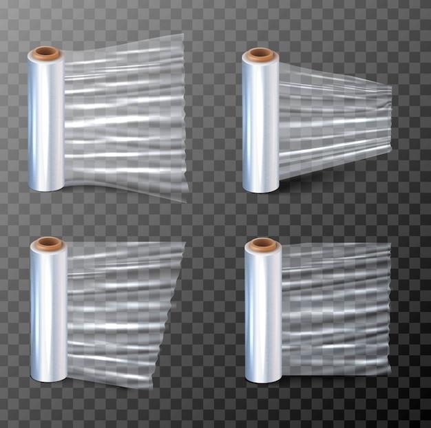 Illustration d'un papier étirable pour l'emballage en quatre vues différentes. isolé sur fond transparent.