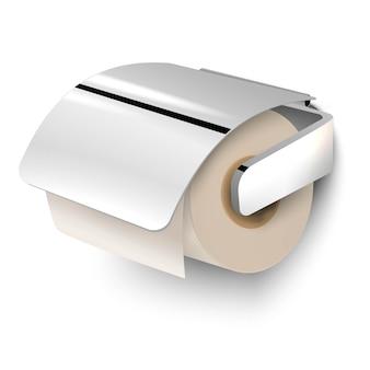 Illustration de papier toilette avec poignée en métal, isolé sur fond blanc.