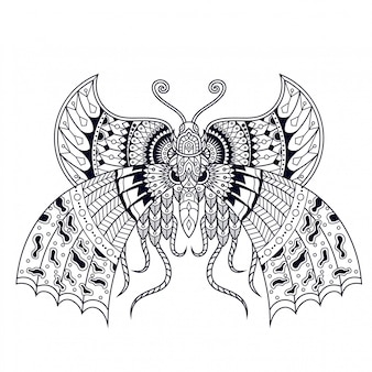 Illustration de papillon, conception de mandala zentangle et tshirt