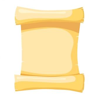 Illustration de papyrus. objet isolé. style de bande dessinée. papyrus jaune abstrait, un rouleau de parchemin