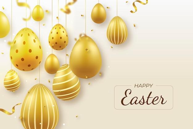 Illustration de pâques dorée réaliste avec des oeufs