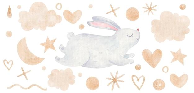 Illustration de pâques d'un lapin mignon sautant parmi les coeurs, les nuages, les points de couleur dorée