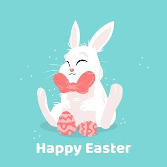 Illustration de pâques mignonne dessinée à la main avec lapin