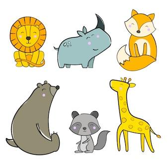 Illustration de paquet animal mignon