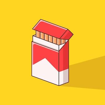 Illustration de paquet de cigarettes au design plat